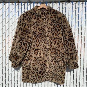 Vintage Leopard Print Faux Fur Jacket